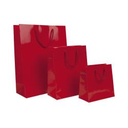 Beschichtete Papiertragetasche in Rot GLÄNZEND