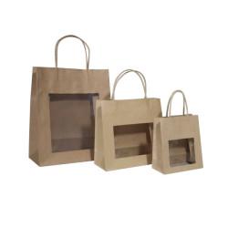 Papiertaschen mit Sichtfenster braun