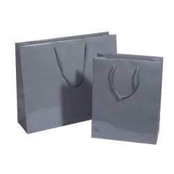 Lackpapier-Tragetaschen grau glänzend
